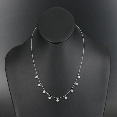 14K Bezel Set Cubic Zirconia Fringe Necklace