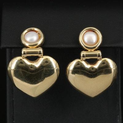 14K Pearl Heart Earrings