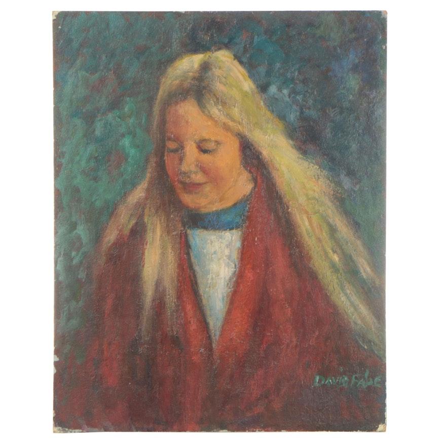 David Fabe Oil Portrait, Late 20th Century