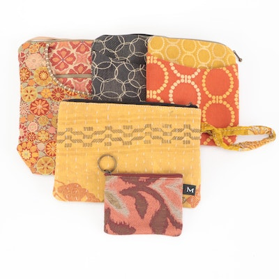 Four Maruca Bags and Patterned Textile Clutch