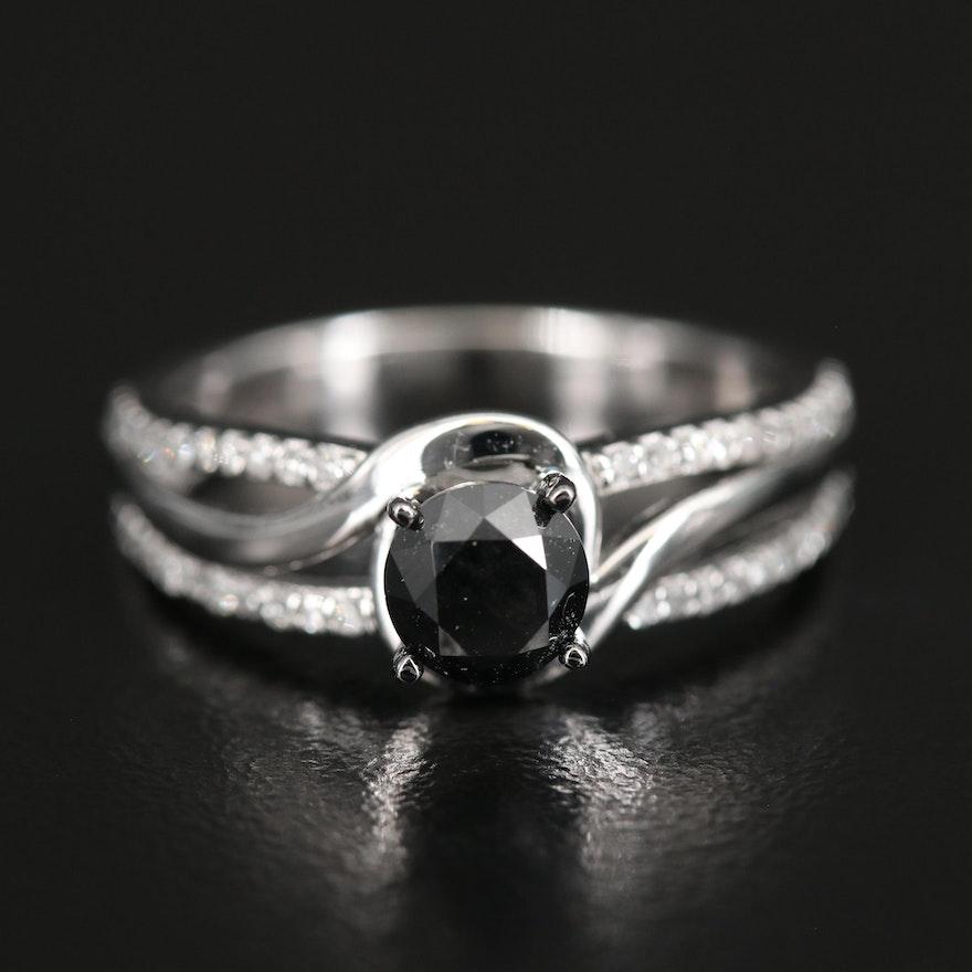Sterling 1.00 CTW Black Diamond and Diamond Ring