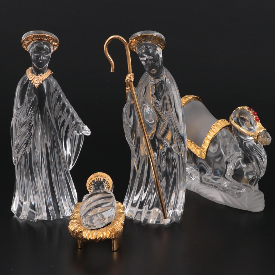 """Gorham """"Holy Family"""" and """"Camel"""" Crystal and Pewter Nativity Figurines"""
