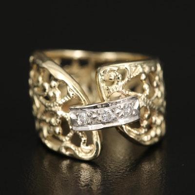 14K Diamond Floral Lattice Ring