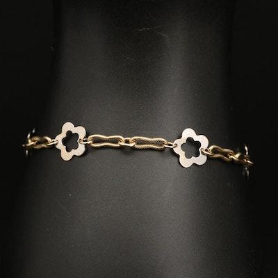 14K Italian Crinkle Chain Cinquefoil Station Bracelet