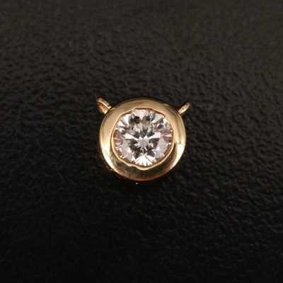 18K Bezel Set Diamond Pendant