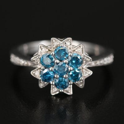 Sterling Blue Diamond and Diamond Ring