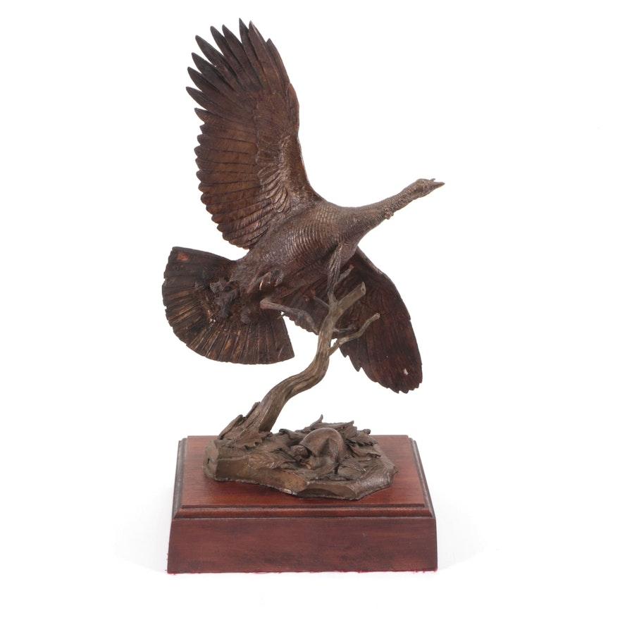 Bronze Sculpture of Wild Turkey and Turtle, 1982