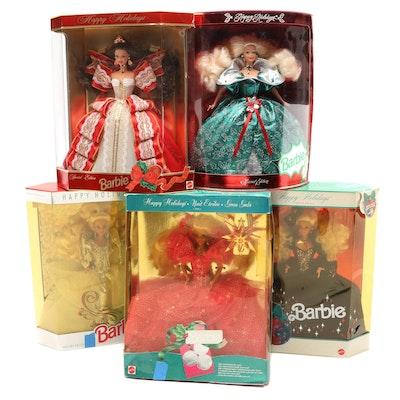 "Mattel Barbie ""Happy Holidays"" Dolls, Late 20th Century"