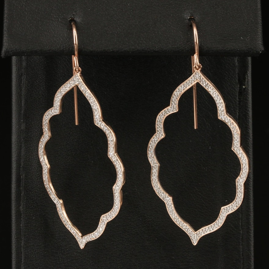 10K Rose Gold Diamond Multifoil Navette Earrings