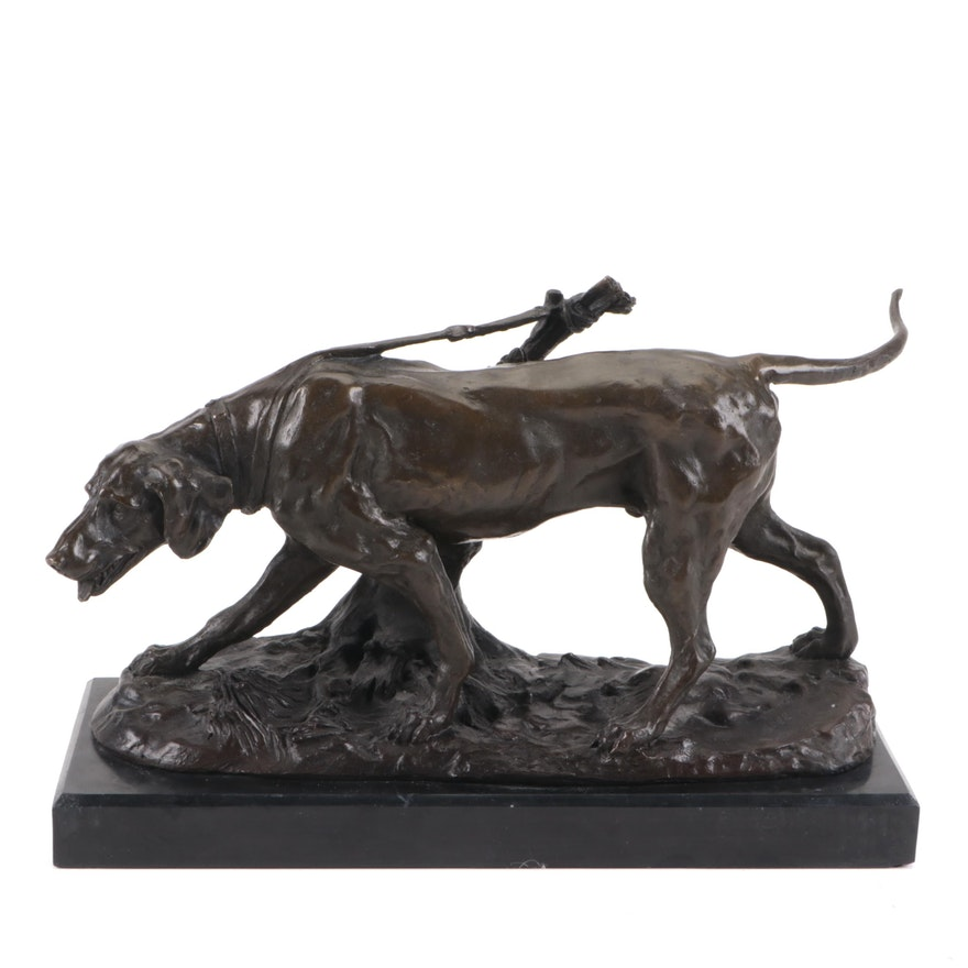 Animalier Style Bronze Sculpture of Hunting Dog