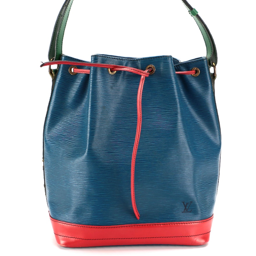 Louis Vuitton Noé Drawstring Bucket Bag in Blue, Green and Red Leather