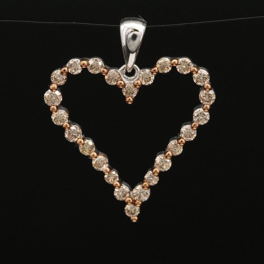 Sterling Silver Diamond Open Heart Pendant