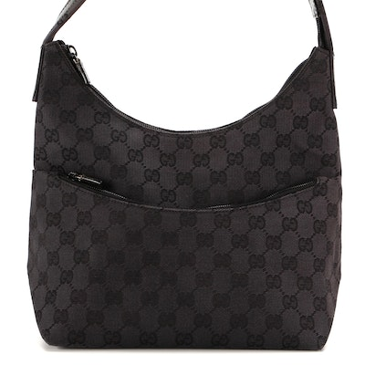 Gucci Shoulder Bag in GG Black Canvas and Leather Trim