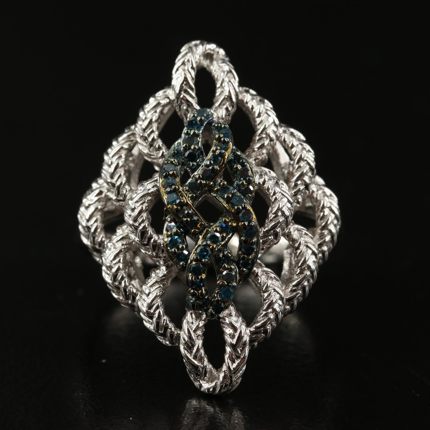Sterling Silver Blue Diamond Openwork Ring