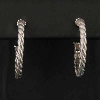 Judith Ripka Sterling Twisted Hoop Earrings