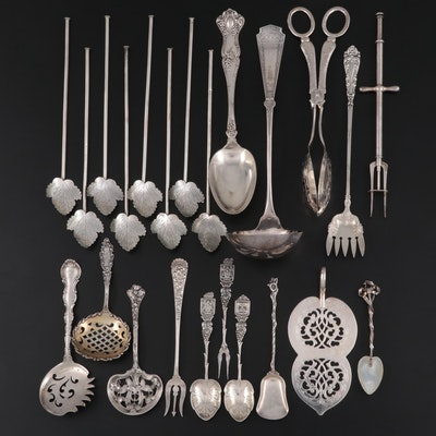 American and Mexican Sterling Silver Utensils and Other Serving Utensils