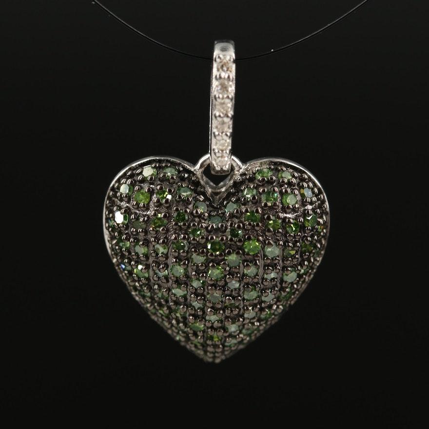 Sterling Silver Green Diamond Heart Pendant