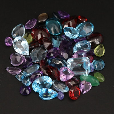 Loose 41.19 CTW Gemstone Selection Featuring Topaz, Garnet and Amethyst