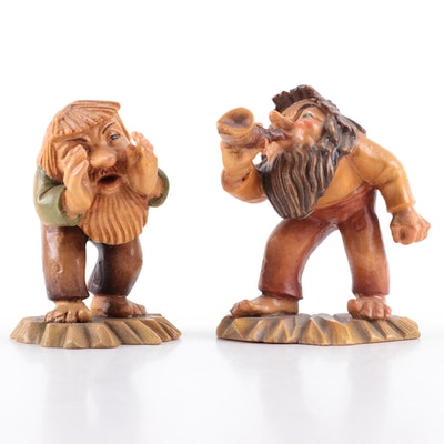 """ANRI """"The Yodeler"""" and """"The Sage"""" Wood Carvings, Late 20th Century"""