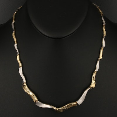 14K Two-Tone Gold Fancy Link Necklace