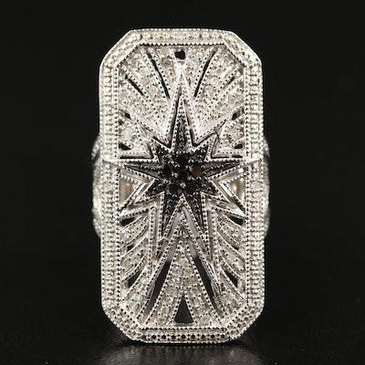 Sterling Silver 1.25 CTW Diamond Starburst Dinner Ring