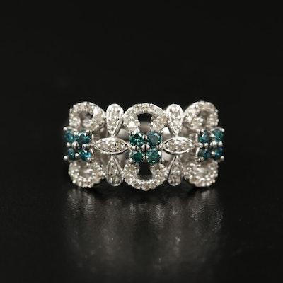 Sterling Silver Diamond and Blue Diamond Ribbon Cut Ring