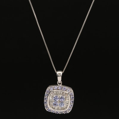 Sterling Tanzanite and Diamond Pendant on Italian Box Link Chain