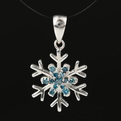 Sterling Silver Blue Diamond Snowflake Pendant
