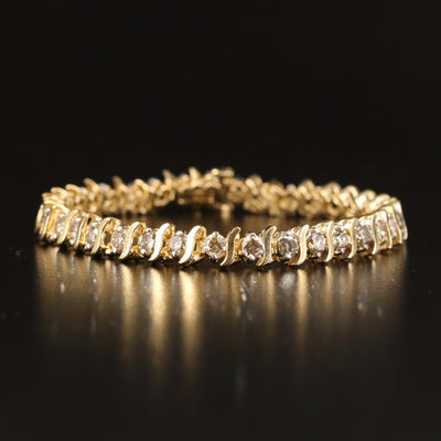 "14K 4.59 CTW Diamond ""S""Link Bracelet"