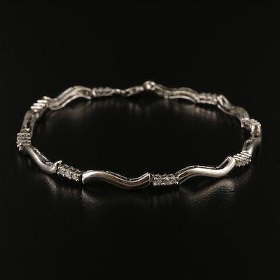 10K Diamond Wave Link Bracelet