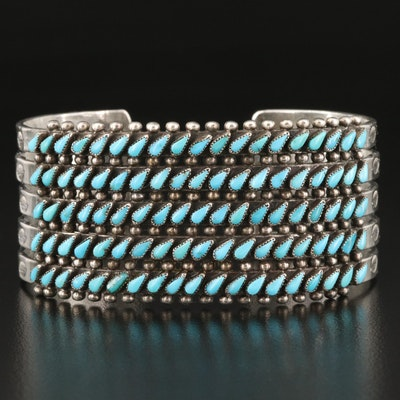 Sterling Silver Turquoise Cuff with Stampwork Design