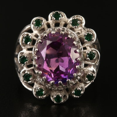 Vintage 14K Sapphire and Spinel Ring with Openwork Detailing