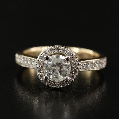 14K 1.10 CTW Diamond Halo Ring