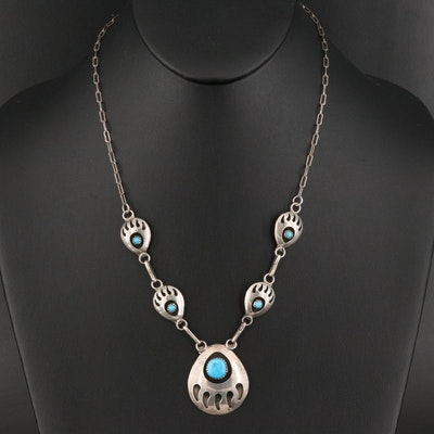 Sterling Silver Turquoise Bear Claw Shadowbox Necklace