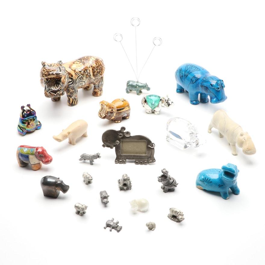 Orrefors Crystal Hippopotamus Figurine with Other Hippopotamus Figurines