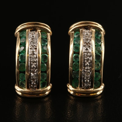 10K Emerald and Diamond Earrings with Channel Settings