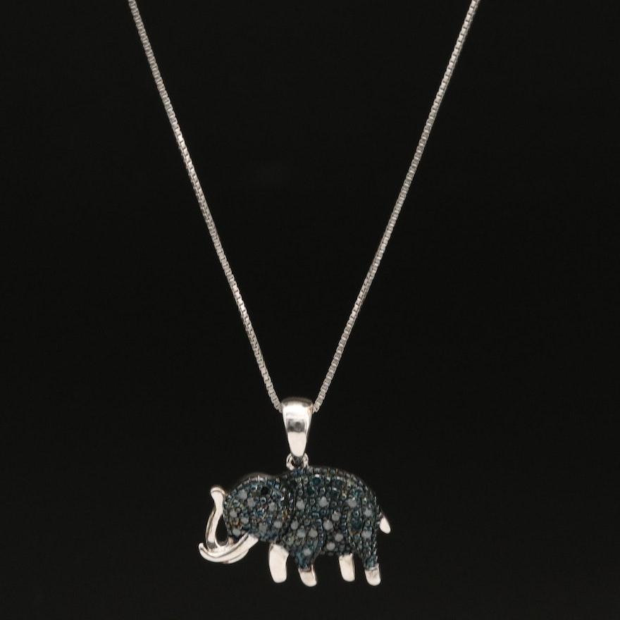 Italian Sterling Pavé Diamond Elephant Pendant Necklace
