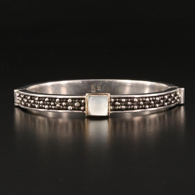 Sterling Bezel Set Mother of Pearl Hinged Cuff with Bead Detailing