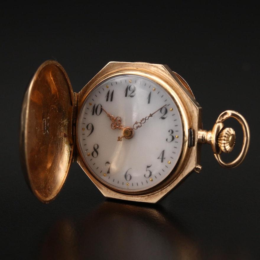 14K Octagon Hunting Case Pocket Watch