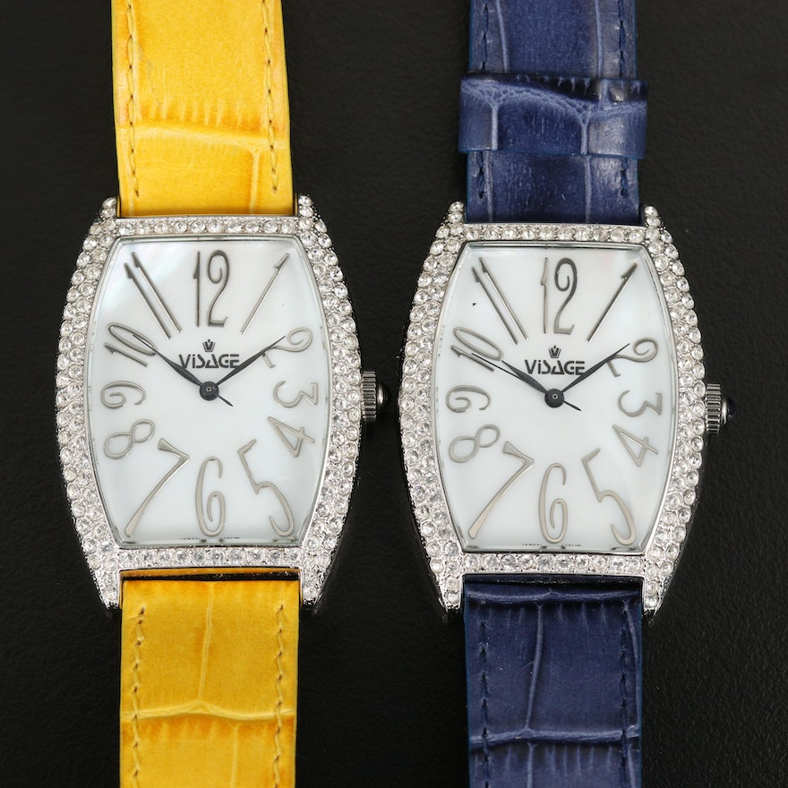Pair of Visage Mother of Pearl Dial Wristwatches with Glass Crystal Bezels