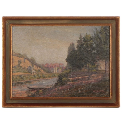 W. Schink Academic Style Landscape Oil Painting, 19th Century