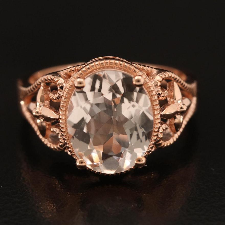 14K Rose Gold Morganite Solitaire Ring