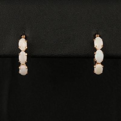 10K Opal Hoop Earrings