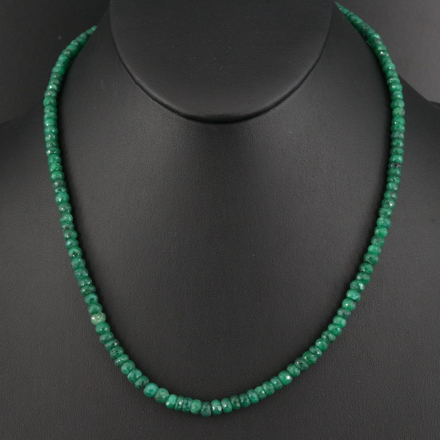 Emerald Bead Necklace with Sterling Silver Clasp