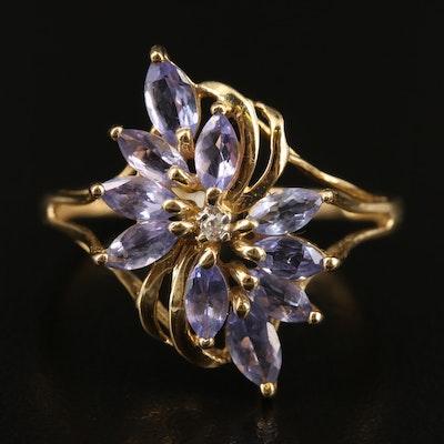 14K Tanzanite and Diamond Foliate Ring