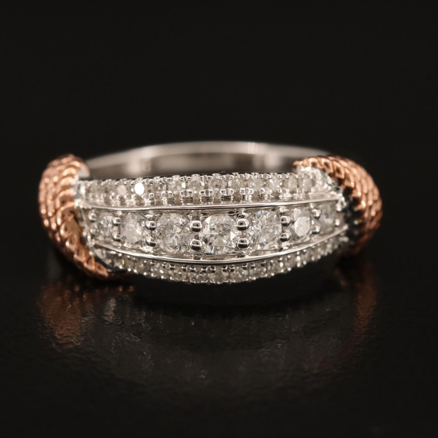 10K Diamond Multi-Row Ring with Rope Shoulders