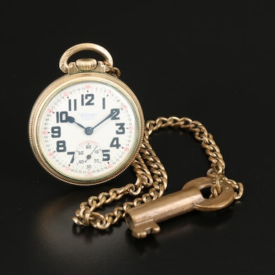 Waltham 10K Rolled Gold Plate Pocket Watch with Fob Chain