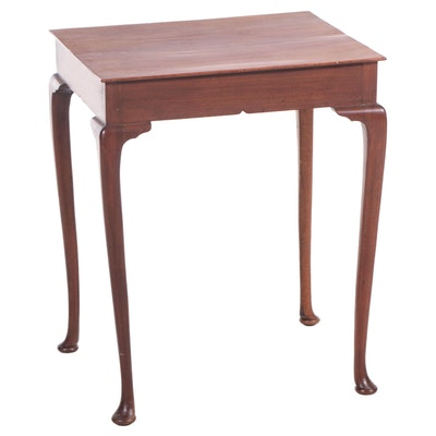 Queen Anne Style Cherry-Finish Side Table, 20th Century