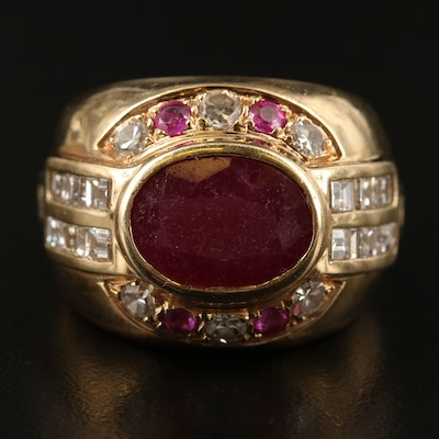 Vintage 14K Ruby and 1.46 CTW Diamond Dome Ring