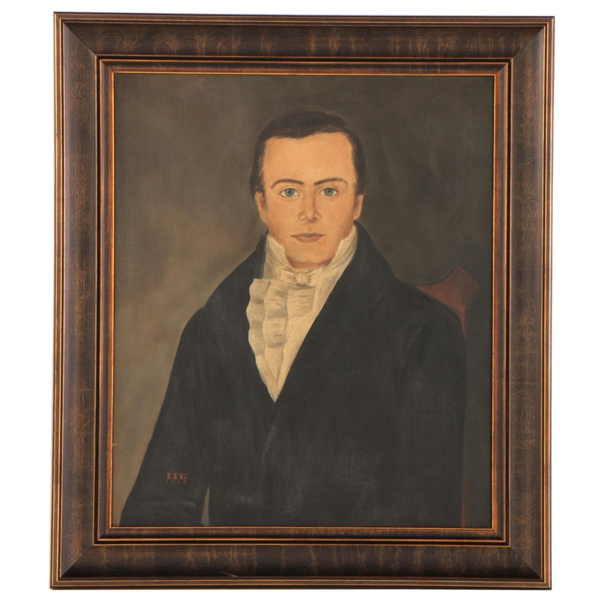 Elizabeth F. Gilkey Folk Art Portrait Oil Painting, 1983